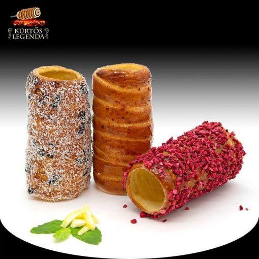 Balatoni naplemente (Chili&Vanília, Málnás, Bounty) - 3 db különböző ízű kürtőskalács