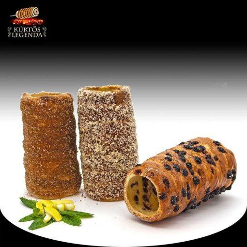 Hollókő (Fahéjas, Diós, Csokipettyes) - 3 db különböző ízű kürtőskalács