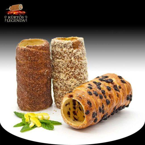 Hortobágy (Kakaós, Csokipettyes, Diós) - 3 db különböző ízű kürtőskalács