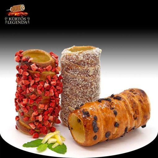 Romantikus (Raffaellós, Igazi epres, Csokipettyes) - 3 db különböző ízű kürtőskalács