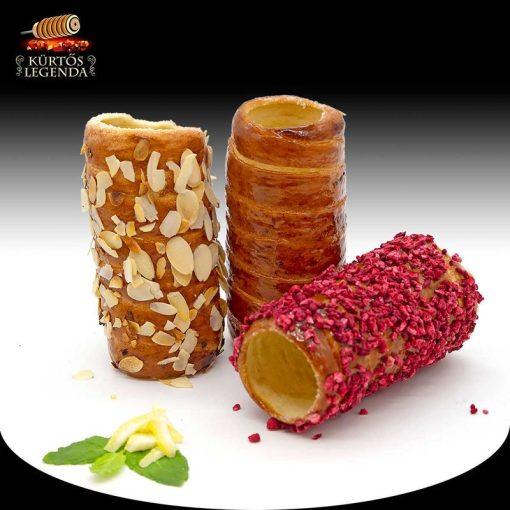 Rozé (Pirított mandulás, Málnás, Vaníliás) - 3 db különböző ízű kürtőskalács