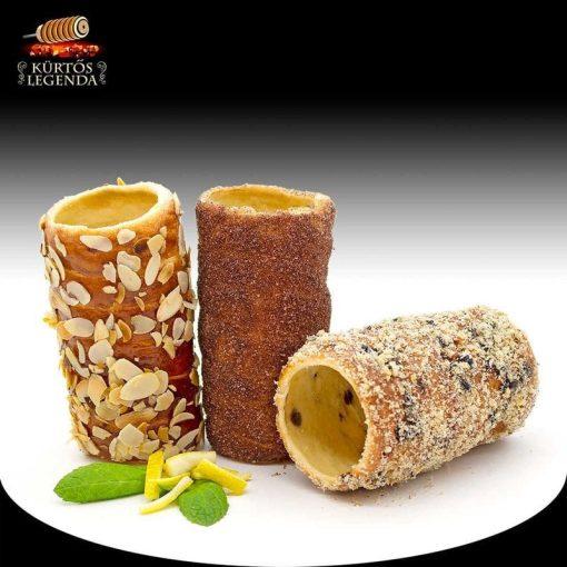 Villány (Fahéjas, Zserbós, Pirított mandulás) - 3 db különböző ízű kürtőskalács